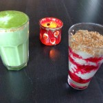 Matcha-Latte + Amaranth Pop (Himbeer)
